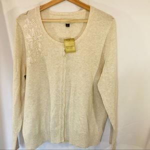 Sonoma Embroidery Floral Button Sweater Cardigan